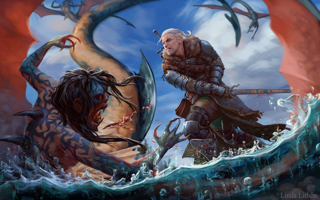 Deviant art, Geralt slashing water monster