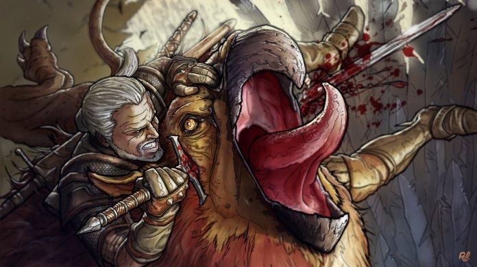 Geralt stabbing a griffon